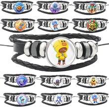 BrawlING Bracelet Star Toy Multilayer Leather Braided Multi Layer Wrap Trendy Braided leon Bracelet Armband Kids Boy Punk Badges
