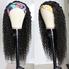 Headband Wig No-Glue Human-Hair Full-Machine-Wigs 250-Density Brazilian Curly Black-Color