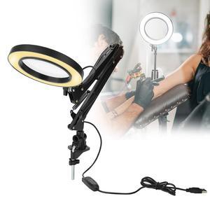 Image 1 - 5X USB увеличительное стекло с светодиодный светильник Гибкий Настольный зажим сторонняя пайка/чтение/Ювелирные изделия Лупа настольная лампа лупа