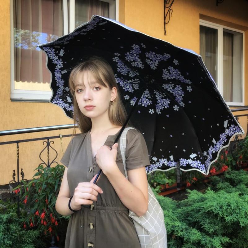 XIANGNAIZUI Quality Folding Umbrella for Women Brand Travel Anti-UV Windproof Rain Flower Female Sun Girl Parasol Pocket Umbrellas Color : 33533 Blue Green