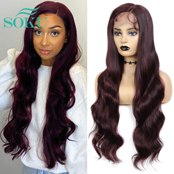 Lace Front Wig Synthetic Wigs Red Wine 99J Color Lace Wigs Long Soft Wavy Hair SOKU L Part Heat Resist Lace Wig For Black Women