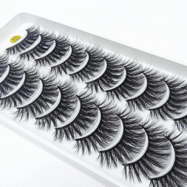 NEW5/10Pairs 3D Faux Mink Eyelashes Natural Thick Long False Eyelashes Dramatic False Lashes Makeup Extension Eyelash maquiagem 2