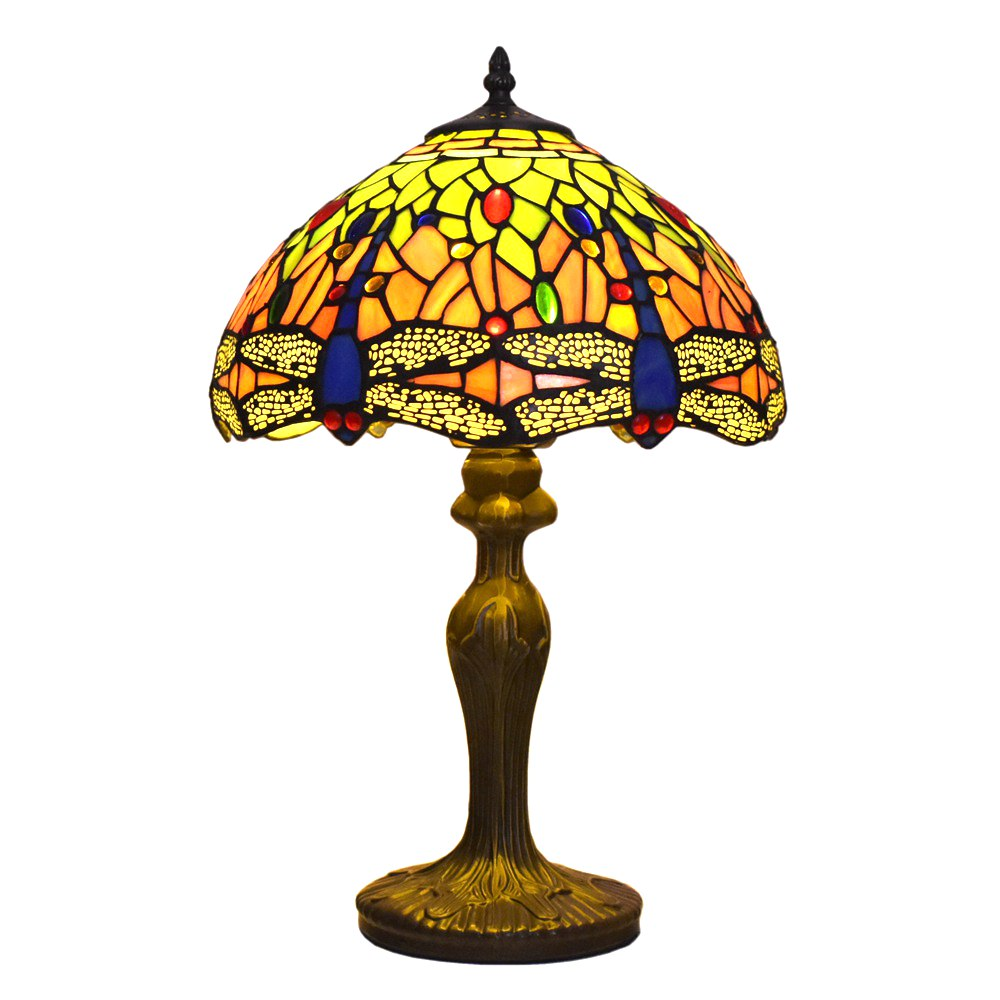 ATREUS Tiffany Style Stained Glass Table Lamps 12 inches Lamp Shade Dragonfly Dale Antique Vintage Lighting for Home Decoration Table Lamps     - title=