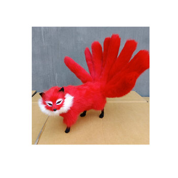 new real life red fox model plastic&furs simulation nine-tails hot fox doll gift about 38x10x15cm xf2826