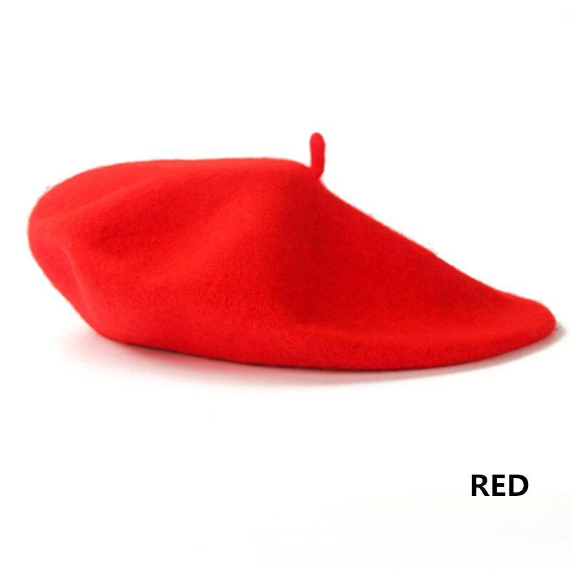 Винтажный простой берет, шапка бини, шапка во французском стиле для женщин и девочек, шерстяная теплая зимняя шапка, женские шапки, шапка уличной моды - Цвет: Red