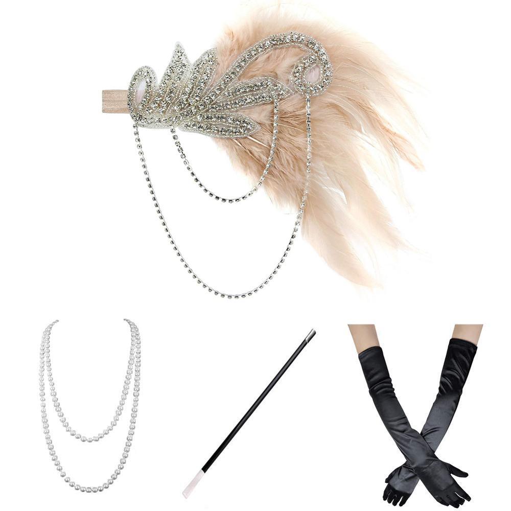 1920s Flapper Costume Gatsby Accessories Set For Women Roaring 20's Headband Earrings Necklace Gloves Cigarette Holder Gold,Wine
