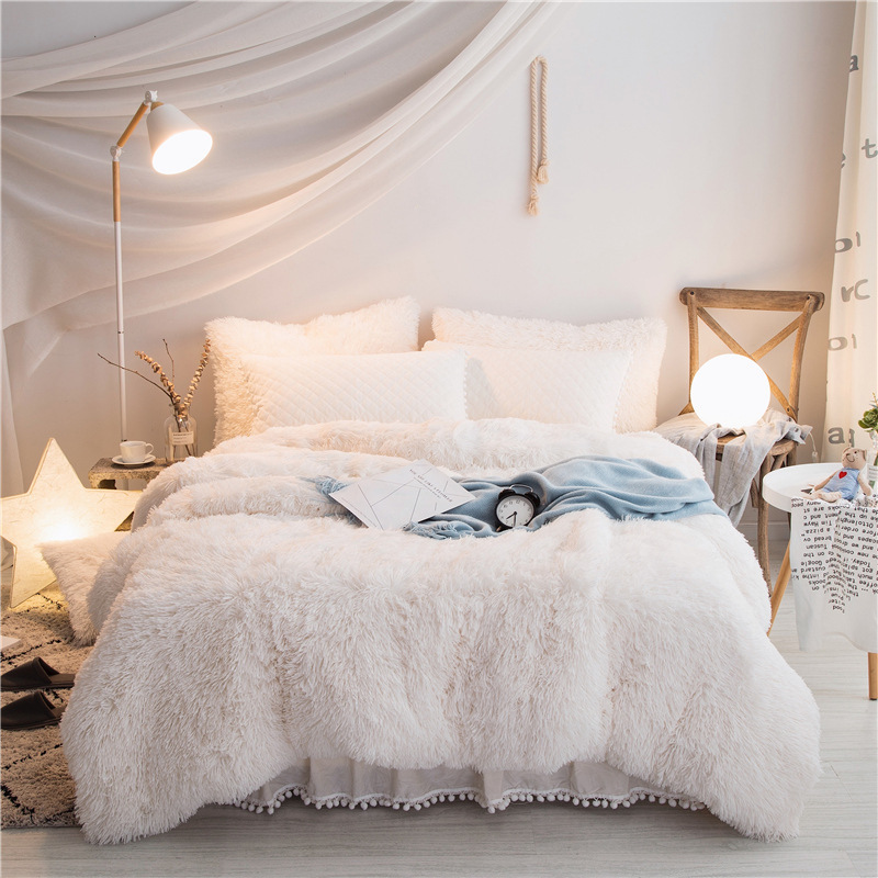 Winter Warm Soft Luxury Plush Shaggy Duvet Cover Cotton Queen King Size Duvet Cover White Pink Grey Without Bedsheet
