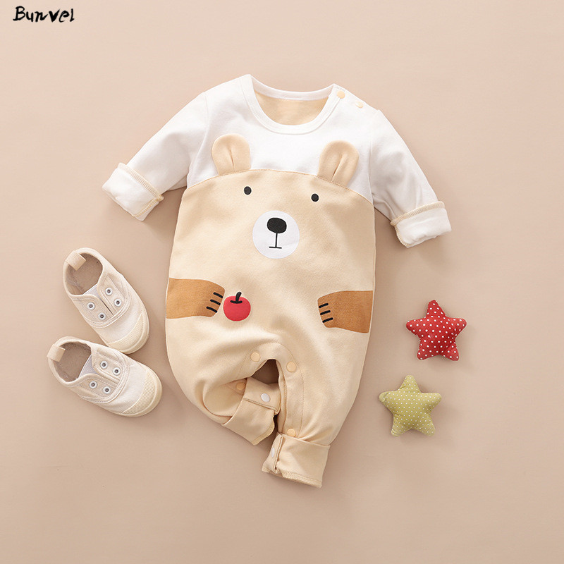 Bunvel Brand New Cute Toddler Infant Baby Girls Rompers Bear Penguin Pattern Baby Girl Boy Clothes Long Sleeve Jumpsuit 0-18M