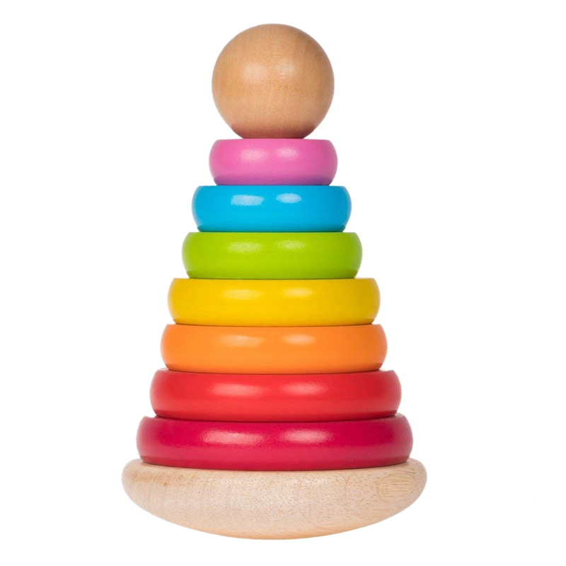 8 inch 8 Colors Wooden Ring Stacker Toy for Babies Rainbow Tower Wooden Toys Rainbow Stacking for Baby and Toddlers (20x12.5
