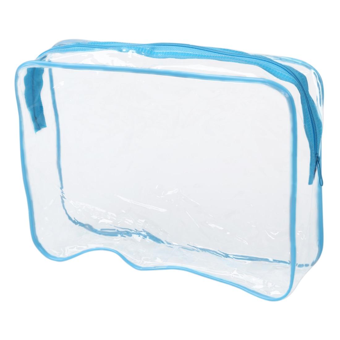 PVC Clear Pouch Travel Bathing Toiletry Zipper Cosmetic Bag, Blue L
