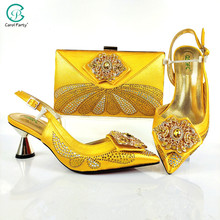 Ladies Shoes Rhinestone Italian-Design Yellow-Color Party Elegant-Style And No with