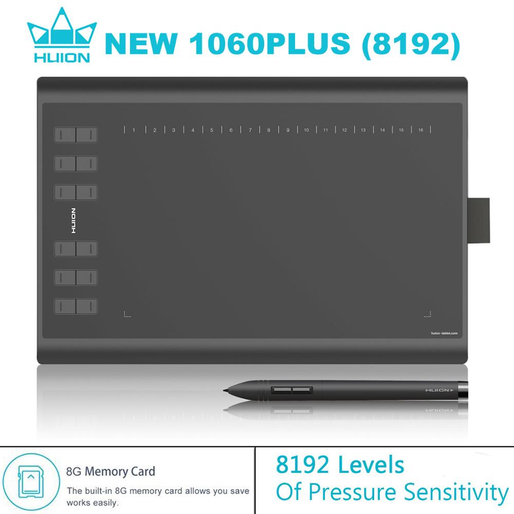 HUION NEW 1060 PLUS 8192 Levels Digital Tablet Graphic Tablets Animation Drawing Board Tablets Signature Pen Tablet 8GB Memory