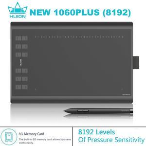 HUION nuevo 1060 PLUS 8192 niveles tableta Digital tabletas gráficas animación tablero de dibujo tabletas firma pluma tableta 8GB de memoria
