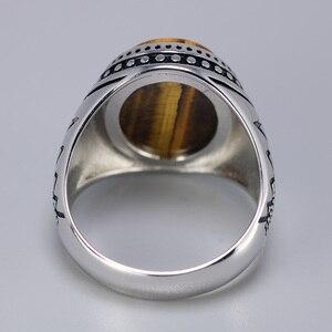 Image 3 - Bague en argent solide pour hommes, bague en argent rétro rétro, avec pierres naturelles doeil de tigre, bijoux turcs 925
