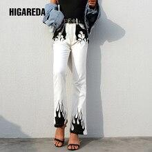 White Casual Wide Leg Pants Women Elegant High Waist Flared Trousers Fire Print