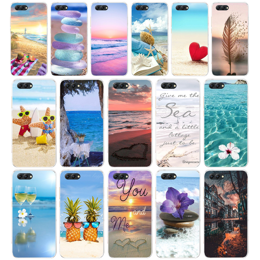 71AA summer Beach Scene at Sunset on sea Palm Soft TPU Case Cover For Huawei Honor 10 10 Lite 20 20 PRO Lite image