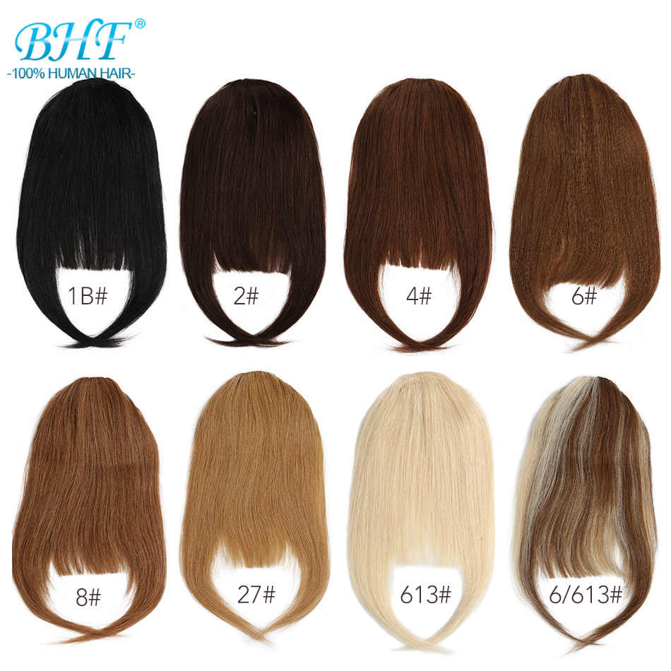 BHF Human Hair Bangs 8inch 20g Front 3 clips in Straight Remy Natural Human Hair Fringe All Colors
