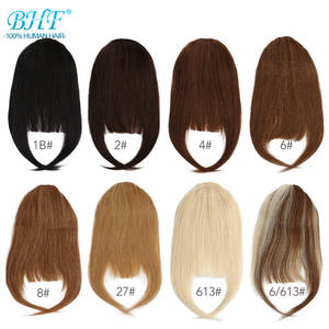BHF Human-Hair-Bangs Natural Front-3-Clips in Remy 20g Straight All-Colors 8inch