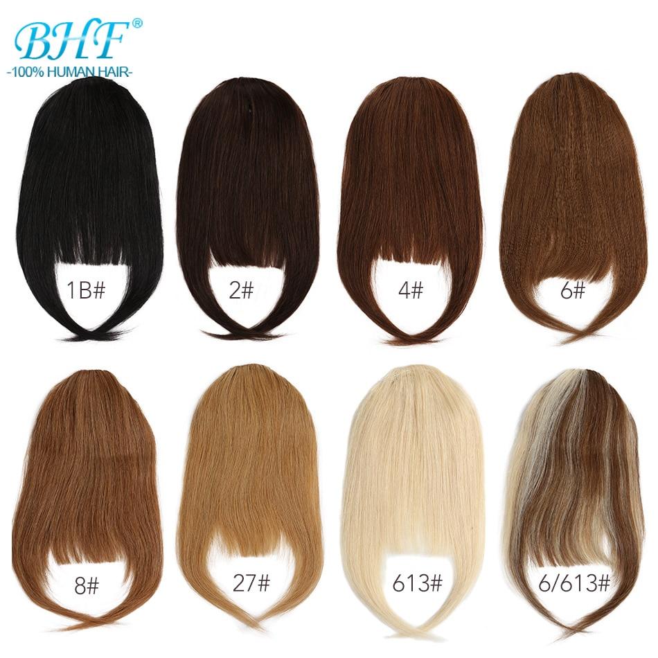 Flequillo de pelo humano BHF, frontal de 8 pulgadas y 20g, 3 clips en pelo liso Remy Natural, flequillo de pelo humano en todos los colores