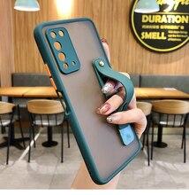 Socouple Shockproof Case Voor Samsung S21 S20 Fe Ultra S8 S9 S10 Plus S10E Plain Kleur Polsband Telefoon Houder stand Back Cover