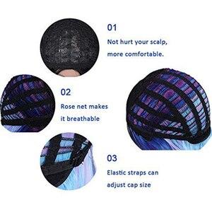 Image 4 - お気に入りオンブルかつら合成かつら虹カラフルなストレート髪の中部コスプレ耐熱繊維 Forr 黒女性