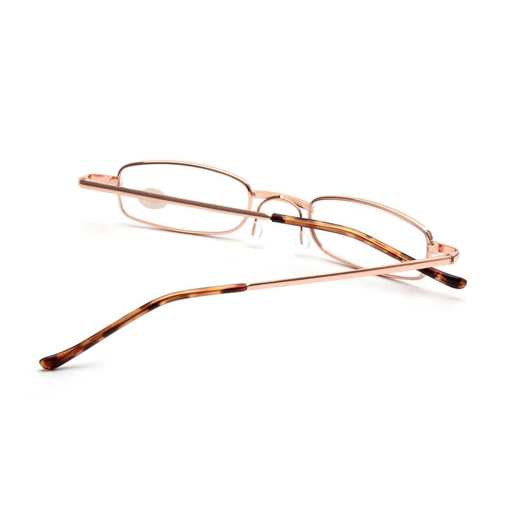 Gafas de lectura Mini portátiles Unisex con marco de Metal con estuche de Metal ajustado sexy gafas de cuidado de la visión lector de gafas + 1,0 a 4,0