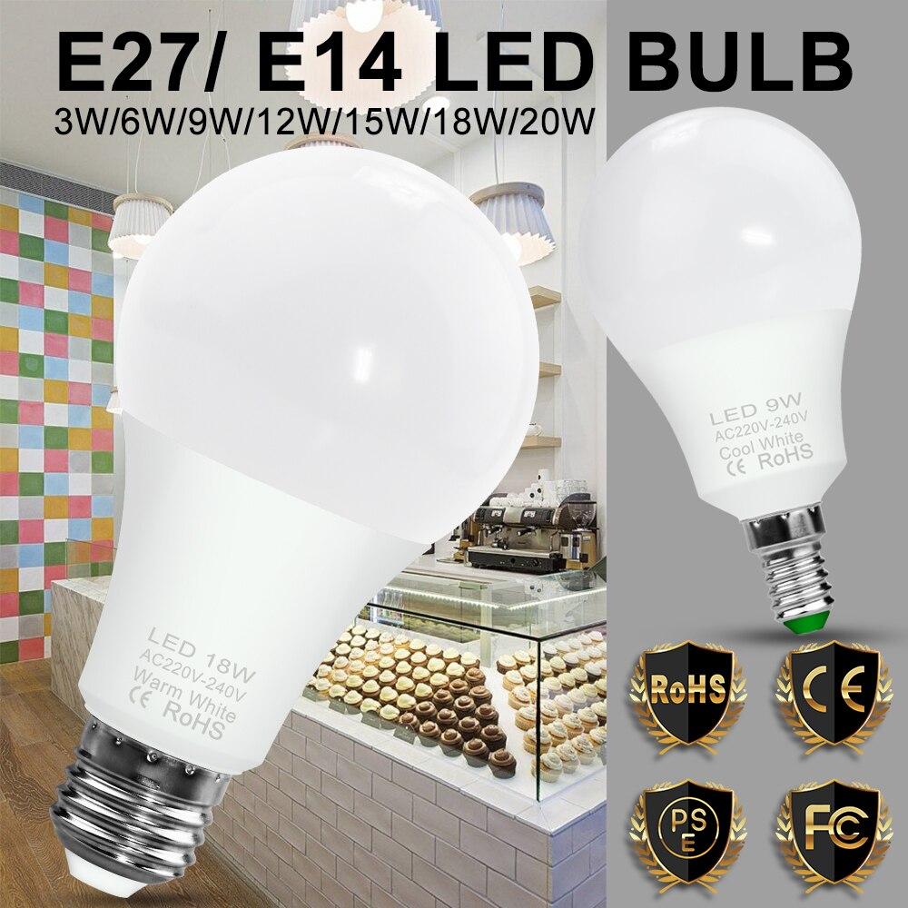10 pces lâmpada e27 bombilla e14 spotlight 3w 6 9 12 15 18 20 focos lâmpada led inteligente ampola 220v economia de energia 110v