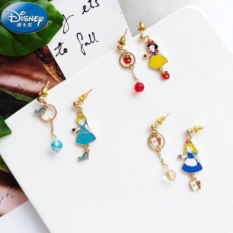 Disney Fantasy Fairy Tale Mermaid Alice Cinderella Princess Earrings Children's Jewelry Simple Asymmetric Earless Clip Girl Toys