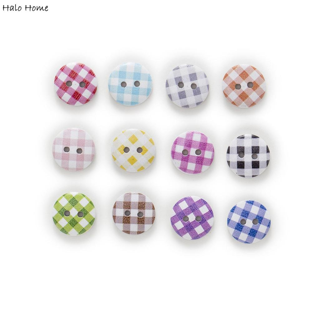 50Pcs Color Round Cute Kitty Mixed Color Button Sewing Crafts Accessories 15mm
