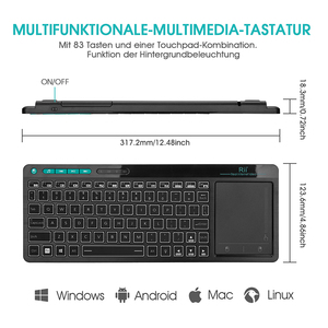 Image 4 - Rii K18 Plus Wireless Multimedia English Russian Spanish Hebrew Keyboard 3 LED Color Backlit with Multi Touch for TV Box,PC