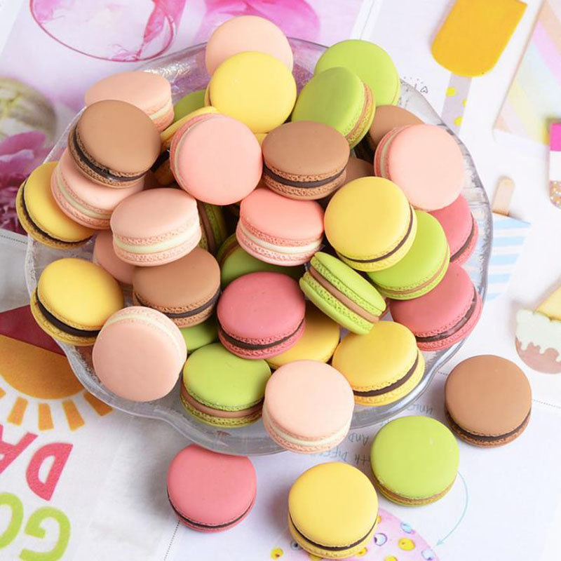 10 Pcs/set Cute Macaroon Simulation Flatback Resin Cabochon Mini Play Food DIY For Phone Jewelry Decoration Crafts Party Favor