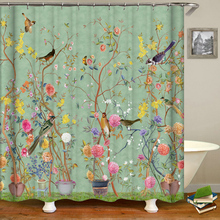 Chinese Style Flower and Birds Tree Shower Curtains Bath Curtain Waterproof Bathroom Decor With Hooks 3d Printing Bath Curtain