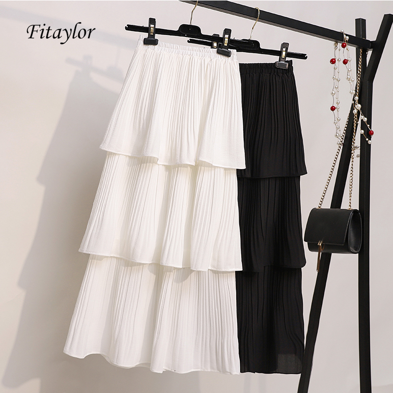 Fitaylor 2020 New 3 Layered Women Summer Pleated Skirt Chiffon Layer Cake Sun Skirts Black White Korean Style Long Skirt Female