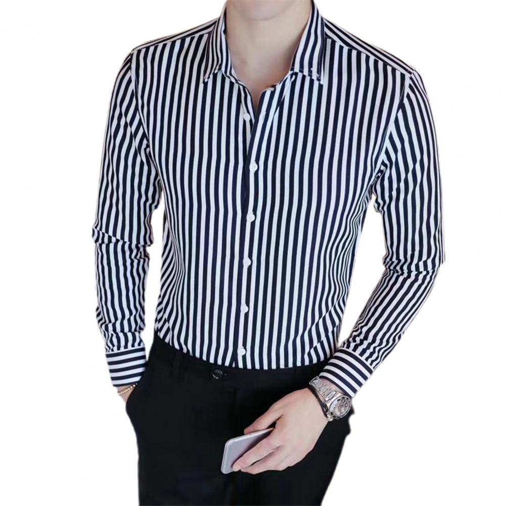 Cheap Business Men Shirt Brand Fashion 2021 Long Sleeve Shirt Men All Match Striped Shirts Men Formal Wear Blouse Homme