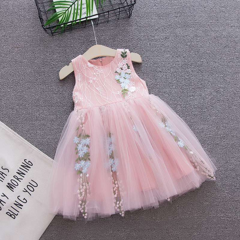 Baby Dress Wedding Party Girl Infantil White Princess Summer for Pink Lace Vestido 1-3T title=