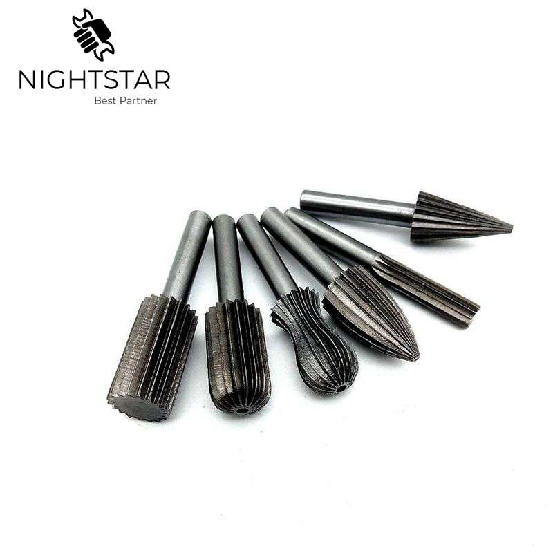 6pcs Carbide Cutter Rotary Burr Set CNC Engraving Bit Rotary File Bur Grinding Shank 6mm 1/4