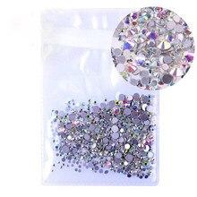 Pedrinhas de strass transparentes para arte em unhas, pedrinhas de strass com parte traseira reta para unhas, tamanho misto 1000 unidades/pacote