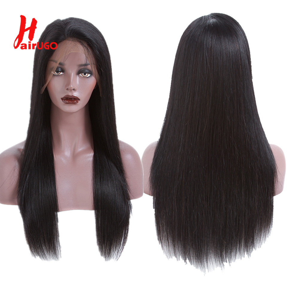 HairUGo 360 Lace Front Human Hair Wigs Straight Pre Plucked Hairline Baby Hair 150% Density Brazilian Remy Human Hair Salon Wigs