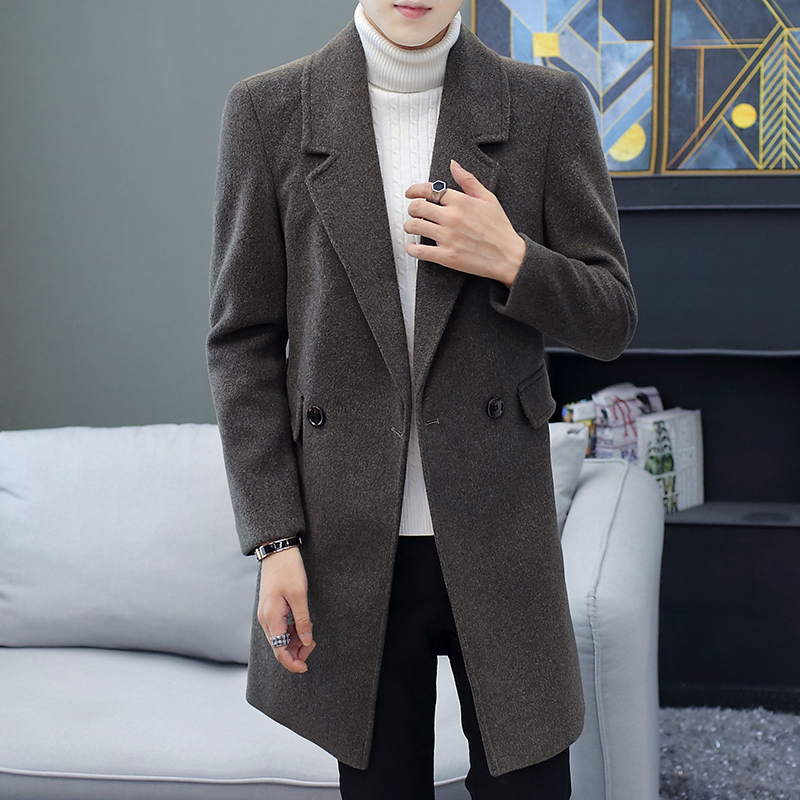2020 new autumn and winter woolen windbreaker men's long Korean version of slim woolen clothes casual men's coat tide