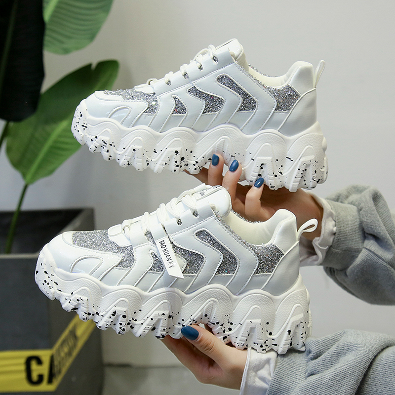 Moipheng Chunky Sneakers Wedges Shoes for Women Bling Red Womens Shoes Spring/Autumn 2020 Platform Sneakers Sapatos De Mujer