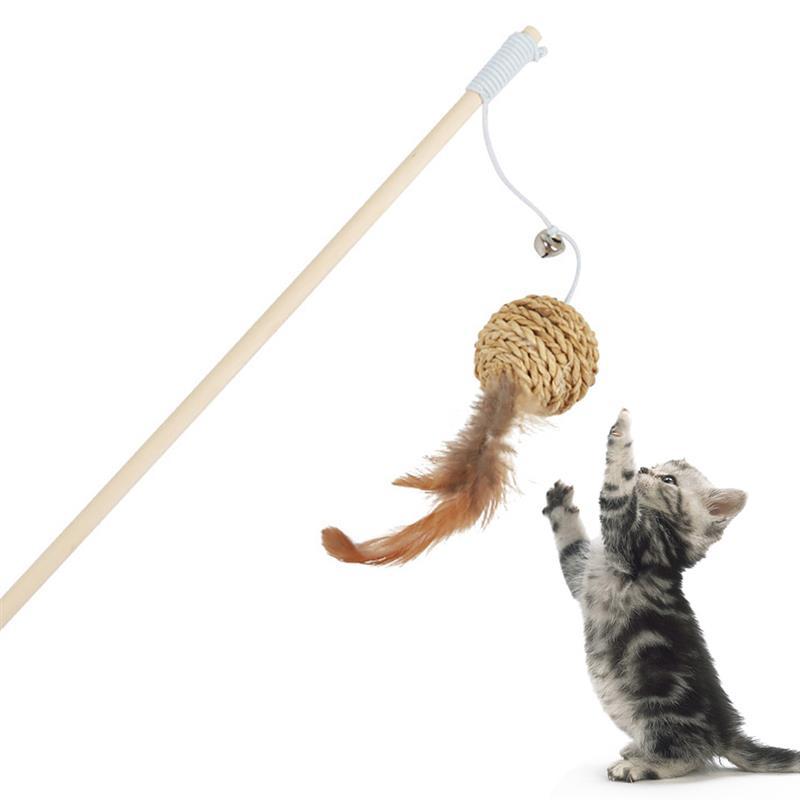 Legendog 1 шт. игрушка-тизер для кошек деревянный стержень мяч поддельные перовая шариковая декор для интерактивных игр, товары для животных, ко...