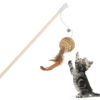 Игрушка-Тигер для кошек Legendog, 1 шт., деревянная удочка, шар с имитацией пера, Интерактивная игрушка для декора, товары для животных, кошек в сл...