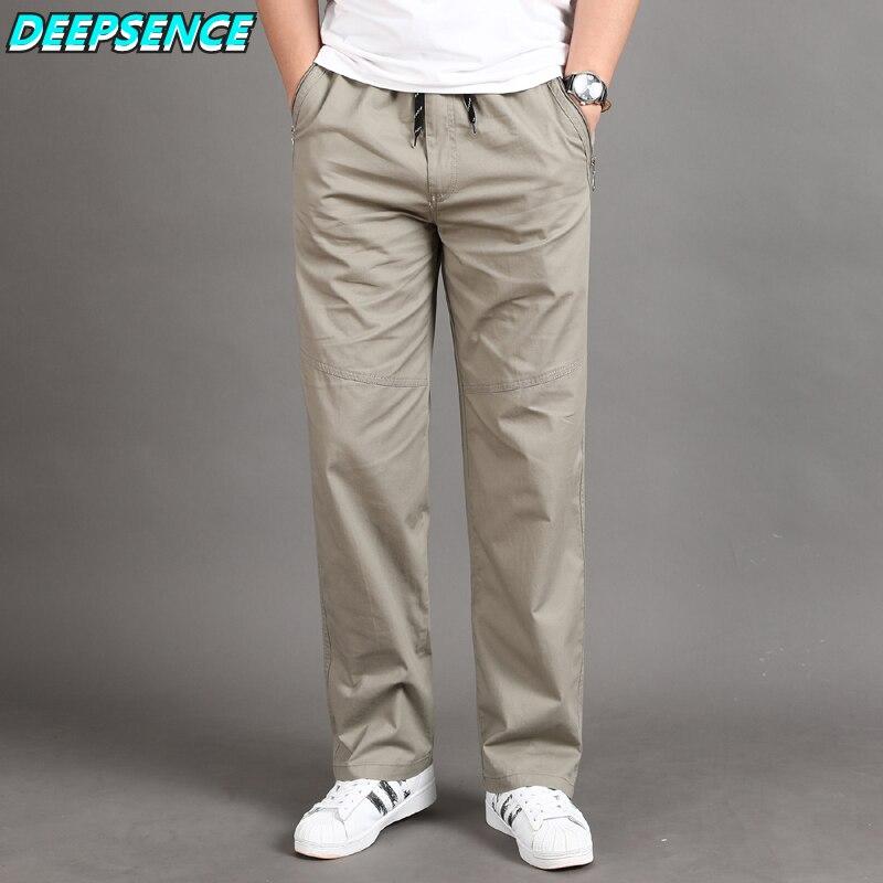 Men Casual Cargo Pants Four Seasons 95% Cotton Men Trousers Multi Pockets Loose Straight Jogging Pants Middle Aged Men M-6XL