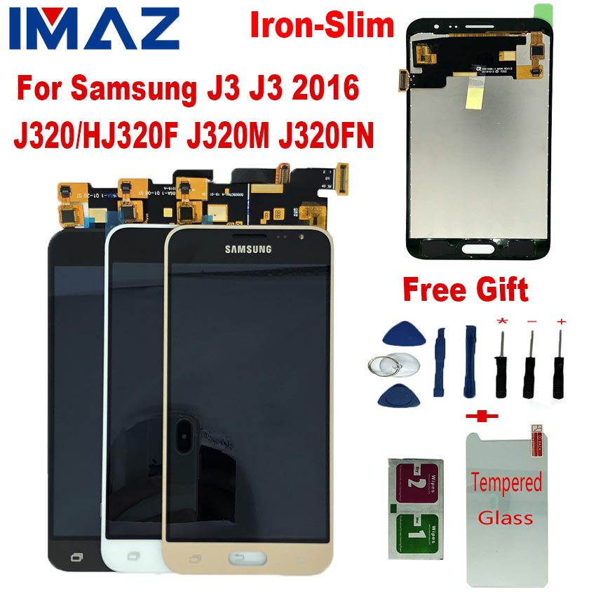 IMAZ Iron Metal LCD For Samsung Galaxy J3 2016 J320 J320F J320H LCD Display+Touch Screen Digitizer Assembly For J3 J320FN LCD