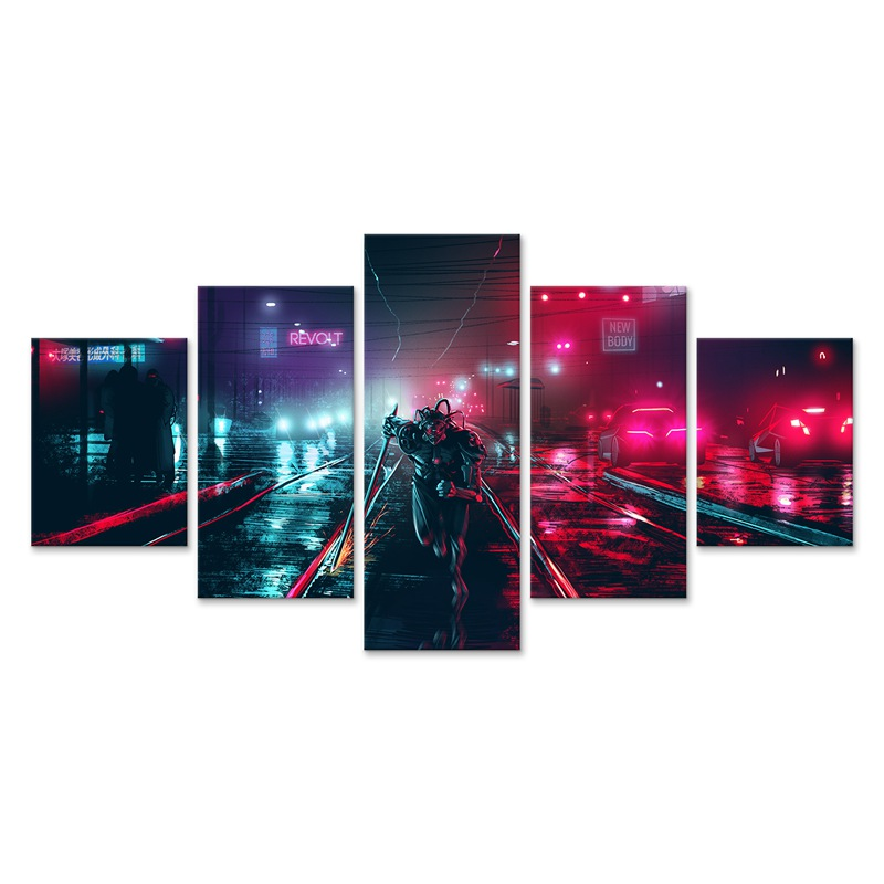 Cyberpunks Neon Canvas Wall Art Poster 5 Pieces Pictures Living Room Modular Printed Painting Home Decor(China)