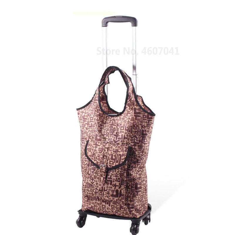 Съемная сумка-тележка для шоппинга, телескопическая складная корзина для покупок, сумка на колесиках из алюминиевого сплава, универсальная Тележка для покупок