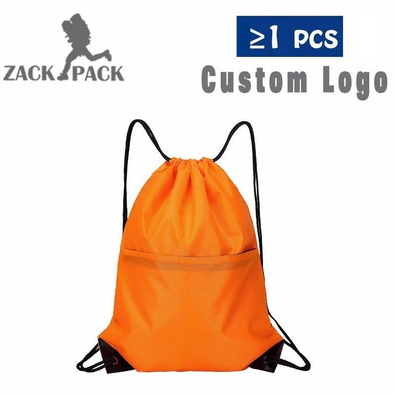 Zackpack Nylon Drawstring Custom Logo Printed Personalized Training Backpack Girl Bag School Sports Waterproof Sack Mochila DB8
