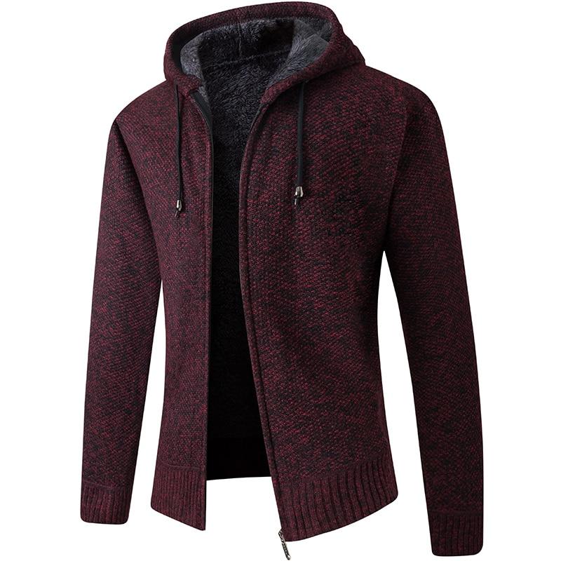 2020 New Cardigan Mens Hooded Collar Fleece Warm Sweaters Coat Men Coat Hoodies Jacket Thick Full  Solid Cardigan Male Coats 4