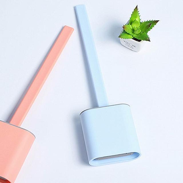 Фото силиконовая щетка для унитаза с основанием резиновый держатель