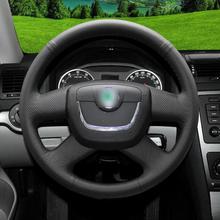 цена на Hand-stitch Black leather Car Steering Wheel Covers For Skoda Octavia 10-2013
